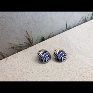 Vintage Big and Bold Post Earrings with Design
